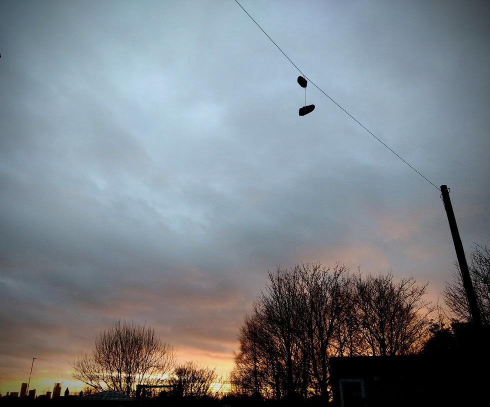 shoes hanging powerline